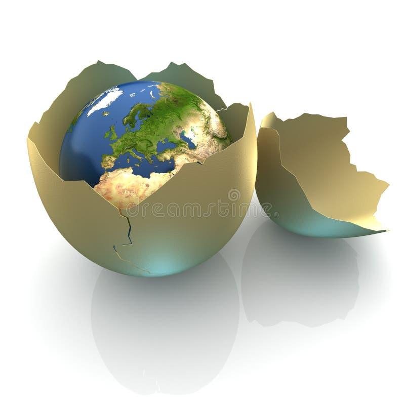 De bol van de aarde in eishell royalty-vrije illustratie