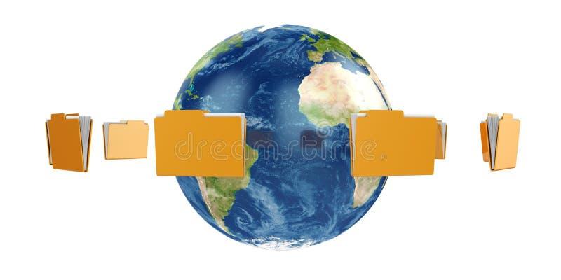 De bol van de aarde met vliegende omslagen stock illustratie
