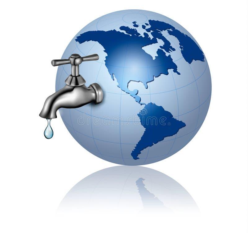 De bol van de aarde met waterkraan en het Concept van dalingsEco vector illustratie