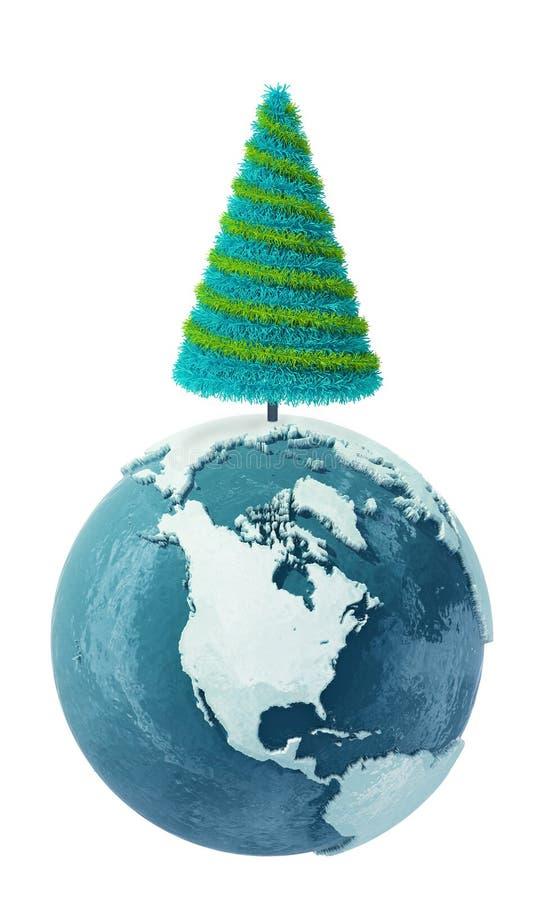 De bol van de Aarde van de winter met Kerstboom stock illustratie
