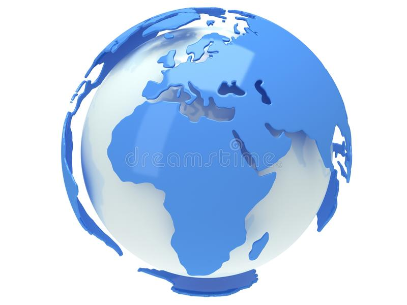 De bol van de aardeplaneet. 3D geef terug. De mening van Afrika. stock illustratie