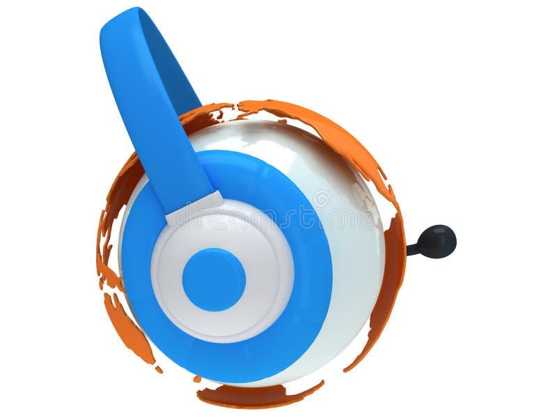 De bol van de aardeplaneet met hoofdtelefoon. 3D geef terug. vector illustratie