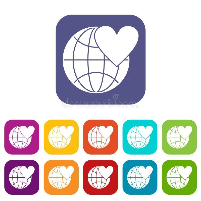 De bol van de aardewereld met geplaatste hartpictogrammen vector illustratie