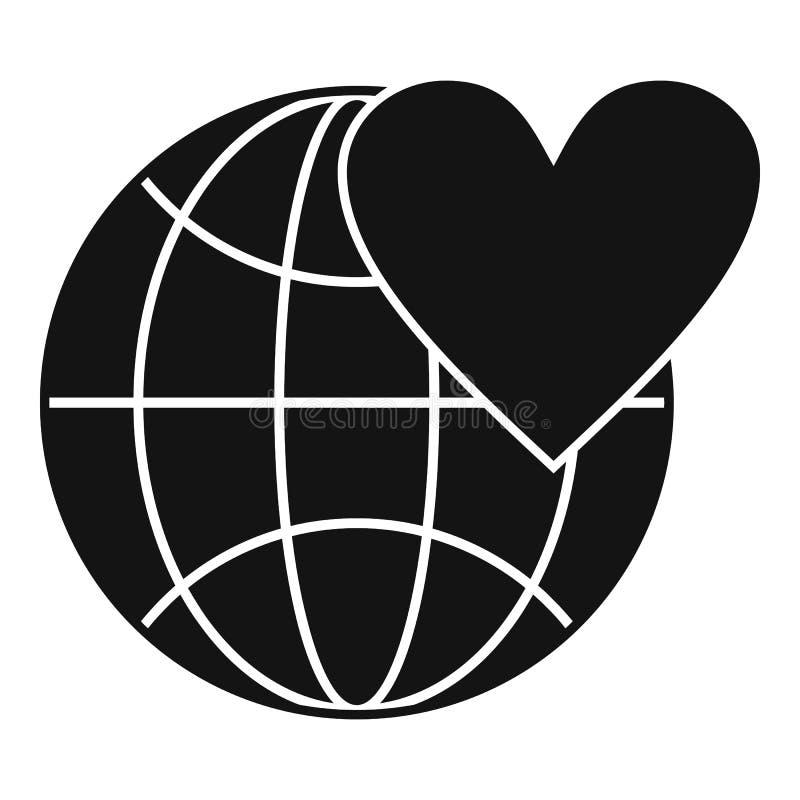 De bol van de aardewereld met hartpictogram, eenvoudige stijl vector illustratie
