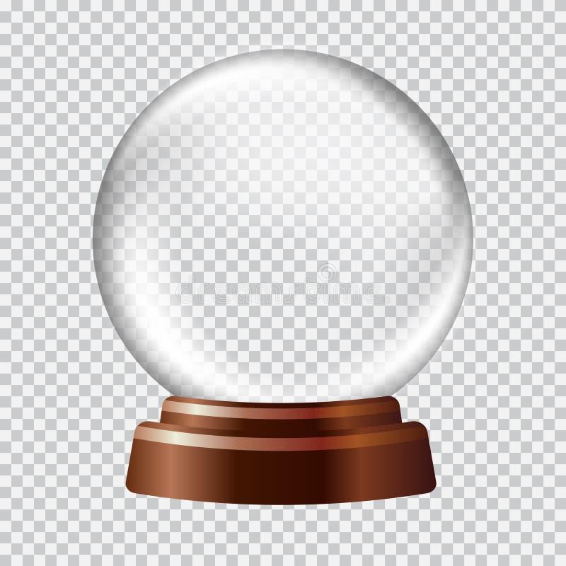 De bol van de sneeuw Groot wit transparant glasgebied  vector illustratie