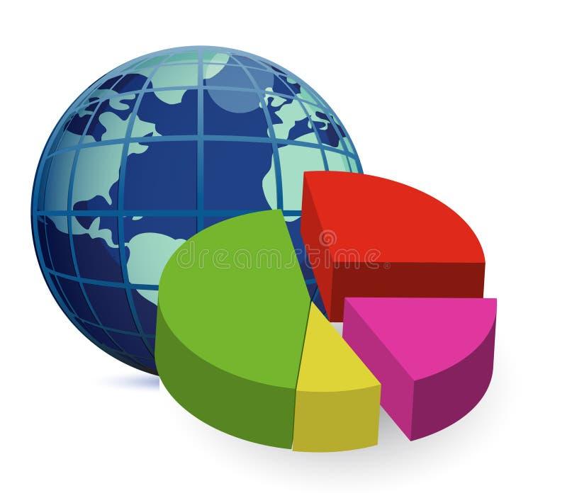 De bol van de wereld en 3D globale financieel stock illustratie