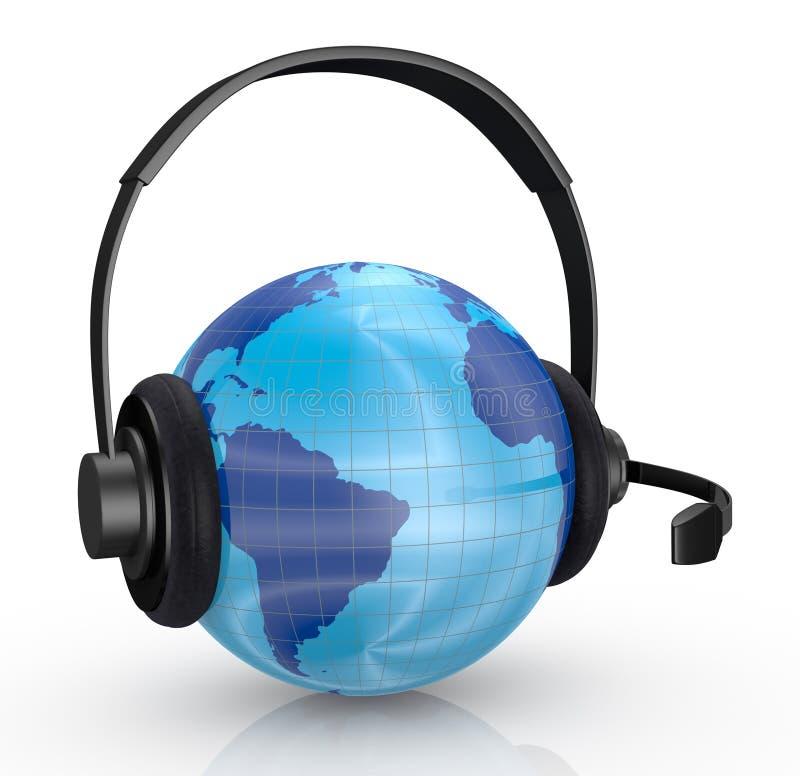De bol van de wereld met hoofdtelefoons stock illustratie