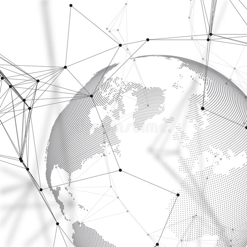 De bol van de wereld op witte achtergrond De globale netwerkverbindingen, vatten geometrisch ontwerp, technologie digitaal concep royalty-vrije illustratie