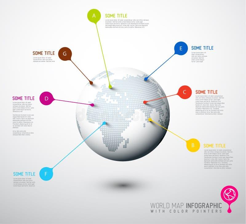 De bol van de wereldkaart met wijzertekens royalty-vrije illustratie