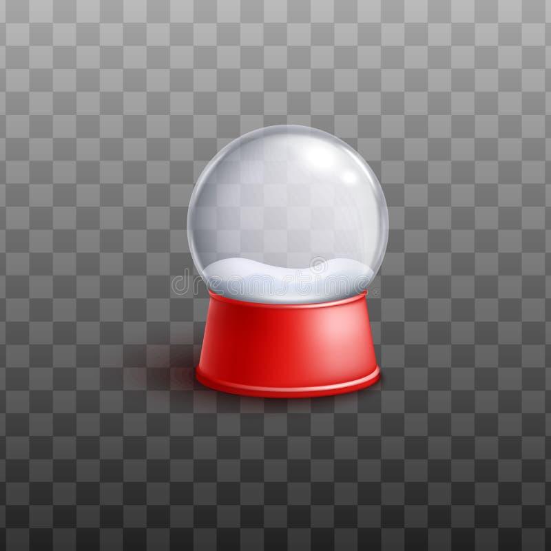 De bol van de glassneeuw met sneeuwbank 3d vectordieillustratie op transparant wordt geïsoleerd royalty-vrije illustratie