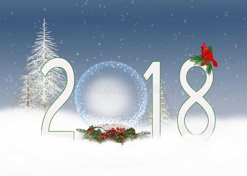 De bol van de Kerstmis 2018 sneeuw stock illustratie