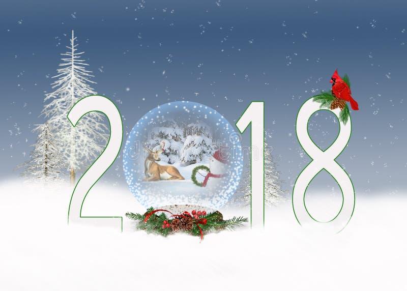 De bol van de Kerstmis 2018 sneeuw met herten stock illustratie