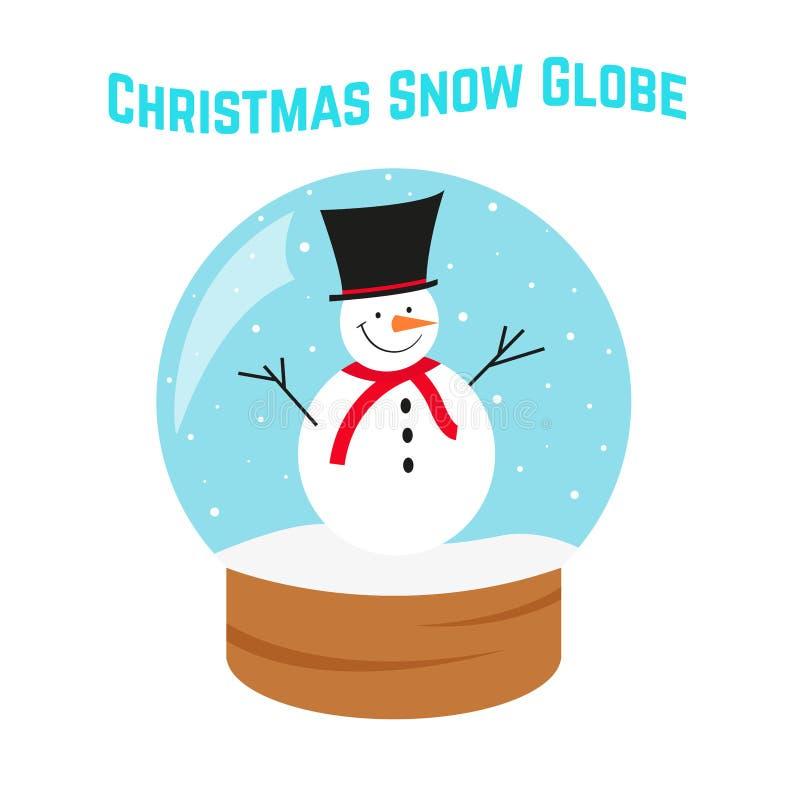 De bol van de Kerstmissneeuw Sneeuwman in Glasbol Laat het sneeuwen royalty-vrije stock foto's
