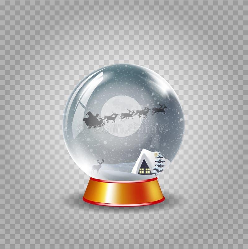 De bol van de kristalsneeuw van het landschap van de de winternacht met huis en het berijden van de Kerstman illustratie royalty-vrije illustratie