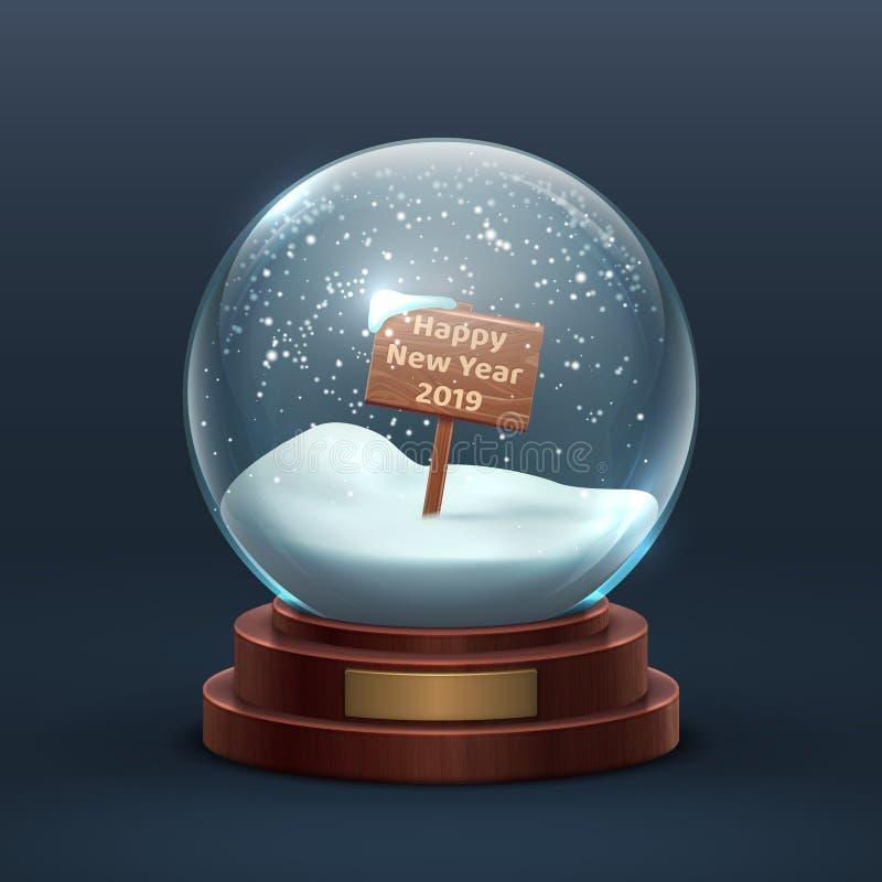 De bol van de sneeuw Het glas van de Kerstmisvakantie snowglobe met houten teken en gelukkige nieuwe jaarteksten Geïsoleerdee vec royalty-vrije illustratie