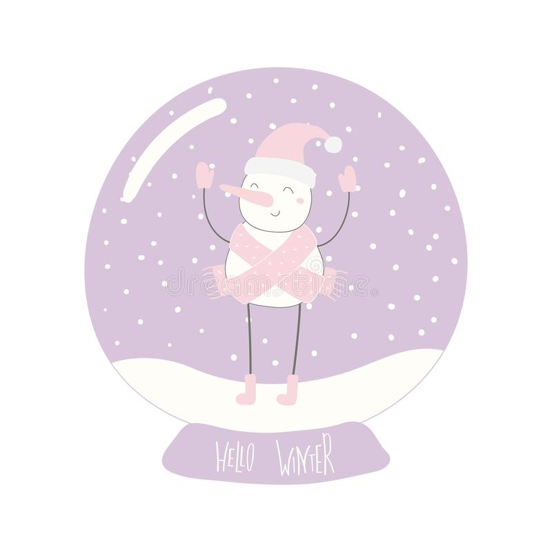 De bol van de sneeuw met sneeuwman vector illustratie