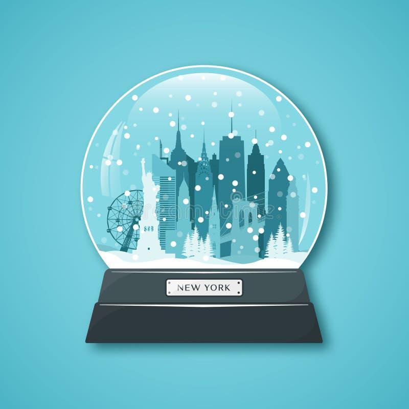 De Bol van de Sneeuw van de Stad van New York stock illustratie