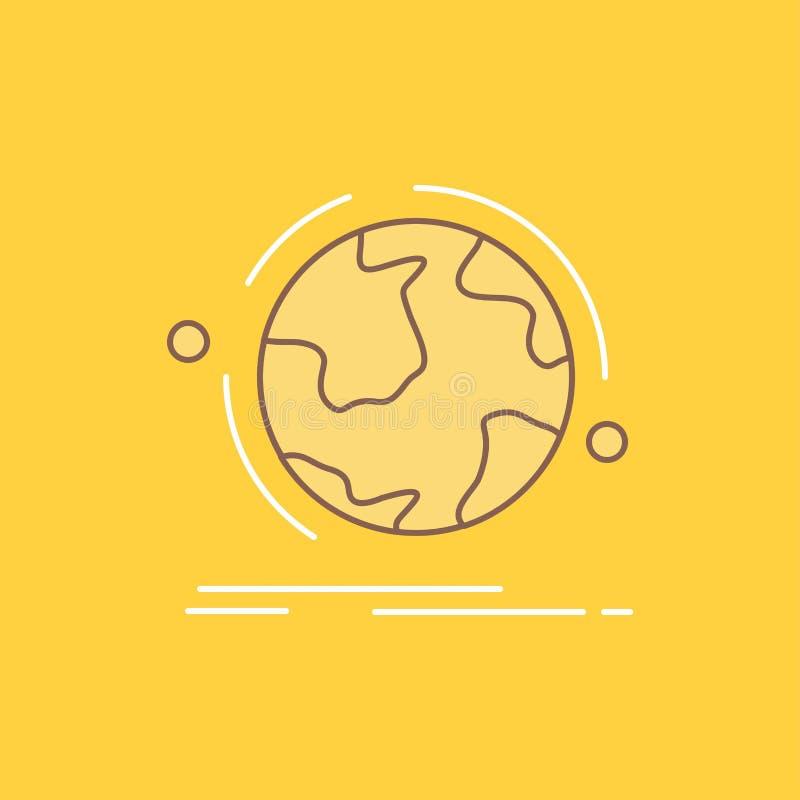 de bol, wereld, ontdekt, verbinding, netwerk Vlak Lijn Gevuld Pictogram Mooie Embleemknoop over gele achtergrond voor UI en UX, vector illustratie