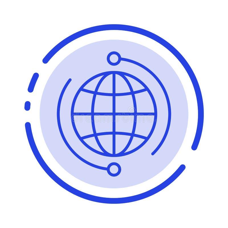 De bol, Zaken, verbindt, Globale Verbinding, Internet, de Lijnpictogram van de Wereld Blauw Gestippelde Lijn royalty-vrije illustratie