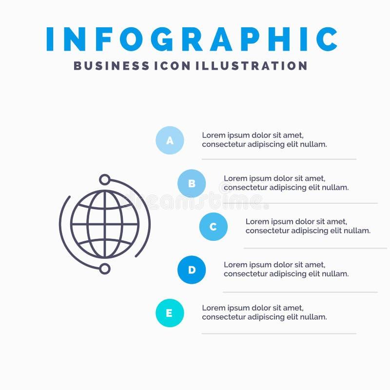 De bol, Zaken, verbindt, Verbinding, Globaal, Internet, het pictogram van de Wereldlijn met infographicsachtergrond van de 5 stap royalty-vrije illustratie