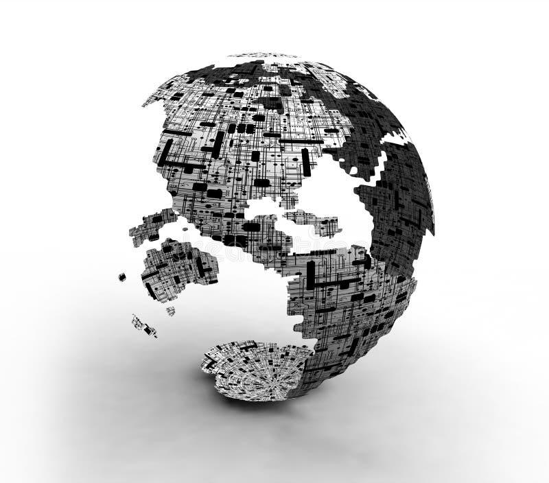 De Bolkaarten van de wereldtechnologie royalty-vrije illustratie