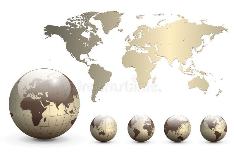 De bollen van de aarde en kaart van de wereld vector illustratie