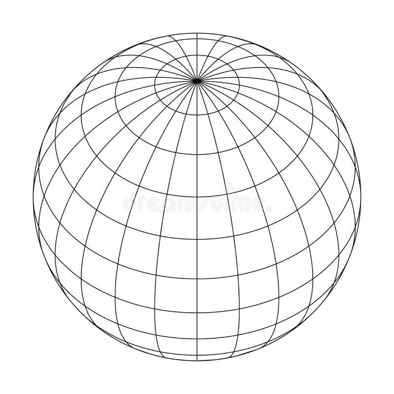 De bolnet van de aardeplaneet van meridianen en parallellen, of breedte en lengte 3d vectorillustratie vector illustratie
