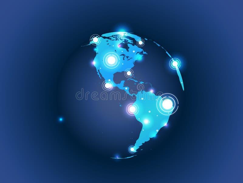 De bolverbinding van de wereldkaart stock illustratie