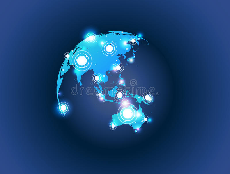 De bolverbinding van de wereldkaart vector illustratie