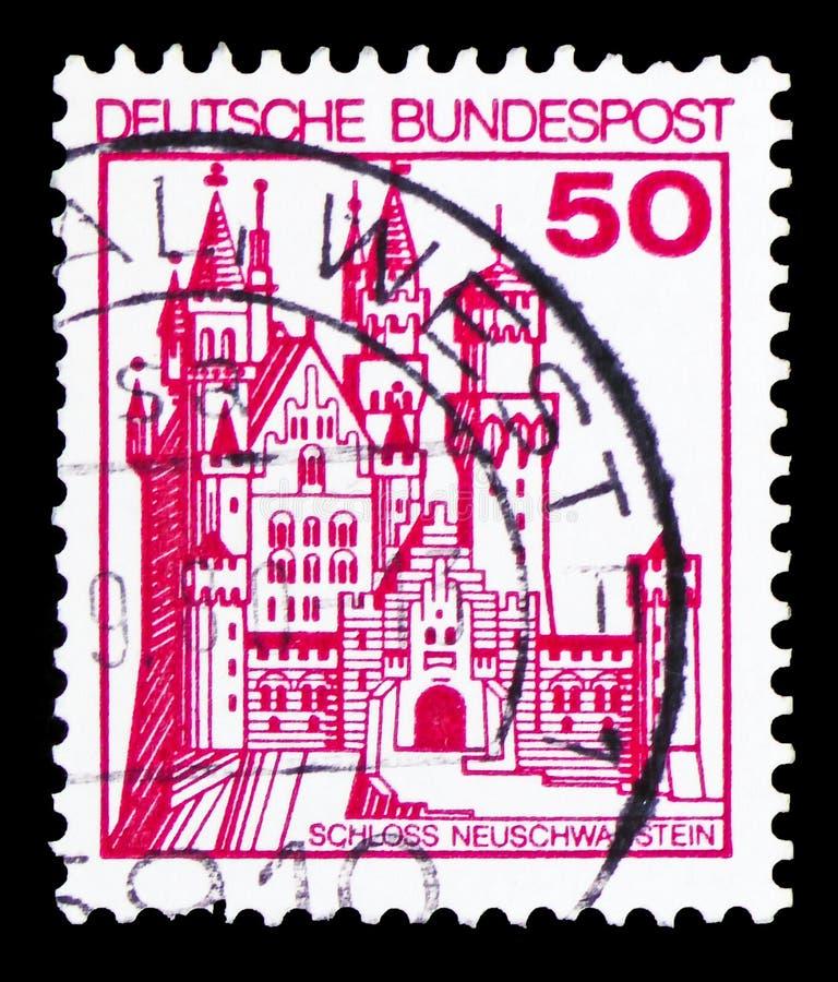 De bolwerken en de Kastelen tonen Neuschwanstein-Kasteel, serie, circa 1977 stock foto's
