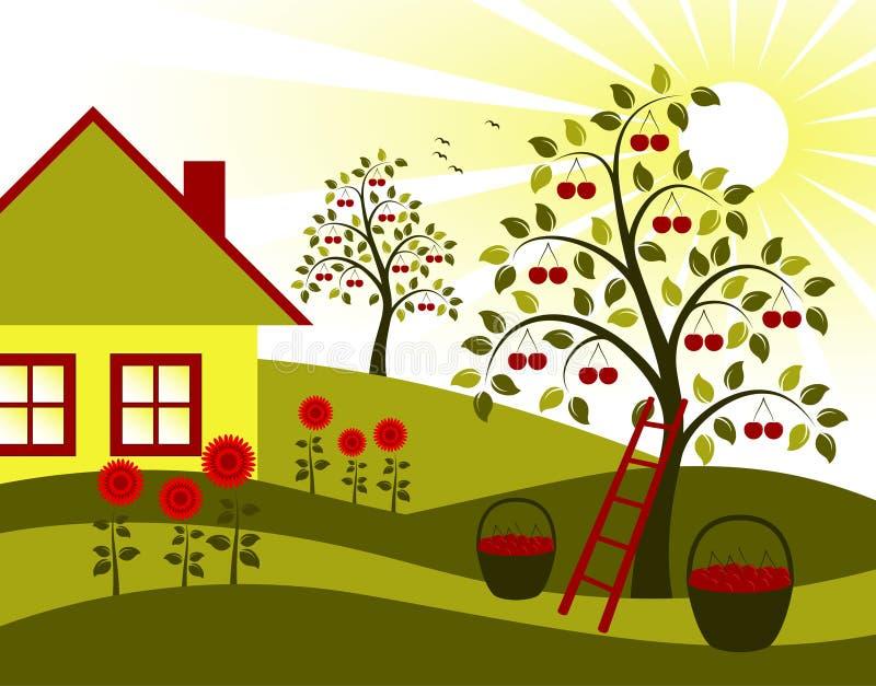 De bomen, de bloemen en het plattelandshuisje van de kers vector illustratie