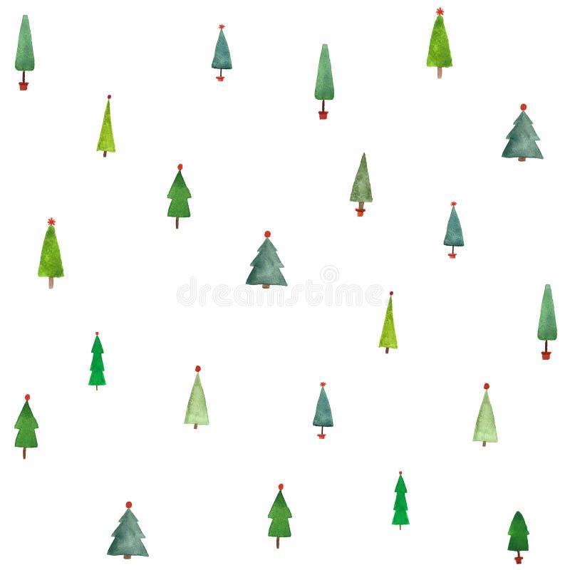 De bomen naadloos patroon van waterverfkerstmis voor verpakkend document vector illustratie