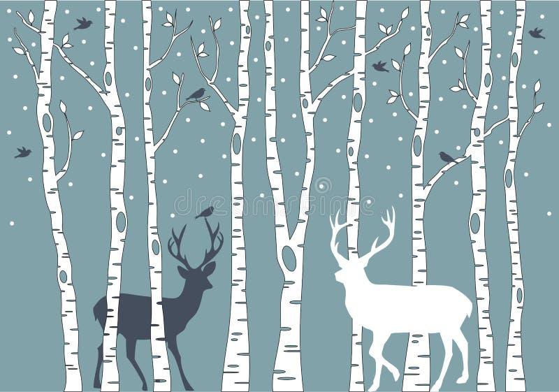 De bomen van de berk met herten, vectorachtergrond vector illustratie