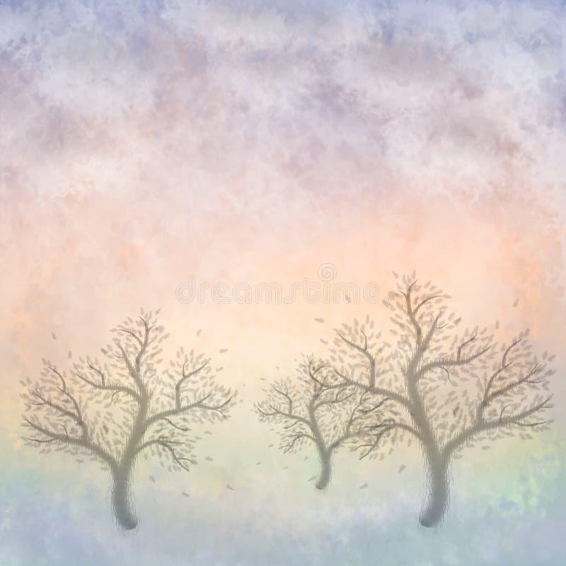 De Bomen van de pastelkleur (het Schilderen) stock illustratie