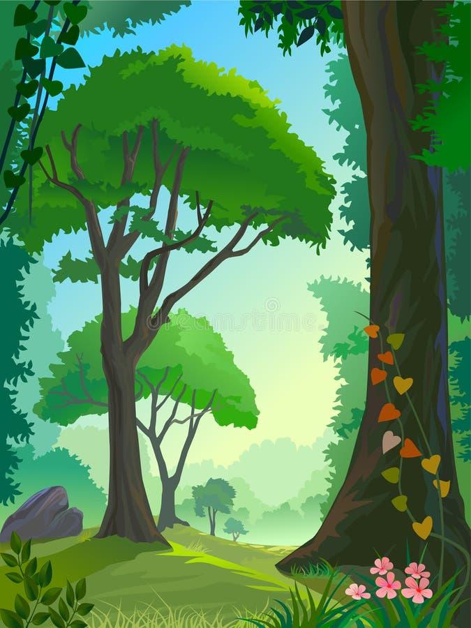 De bomen van het regenwoud royalty-vrije illustratie