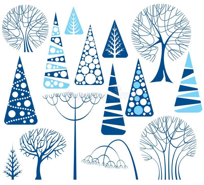 De bomeninzameling van de winter vector illustratie