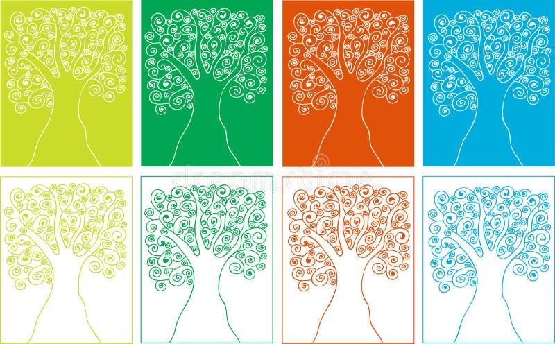 De bomensilhouetten van de vier seizoenen van spiralen vector illustratie