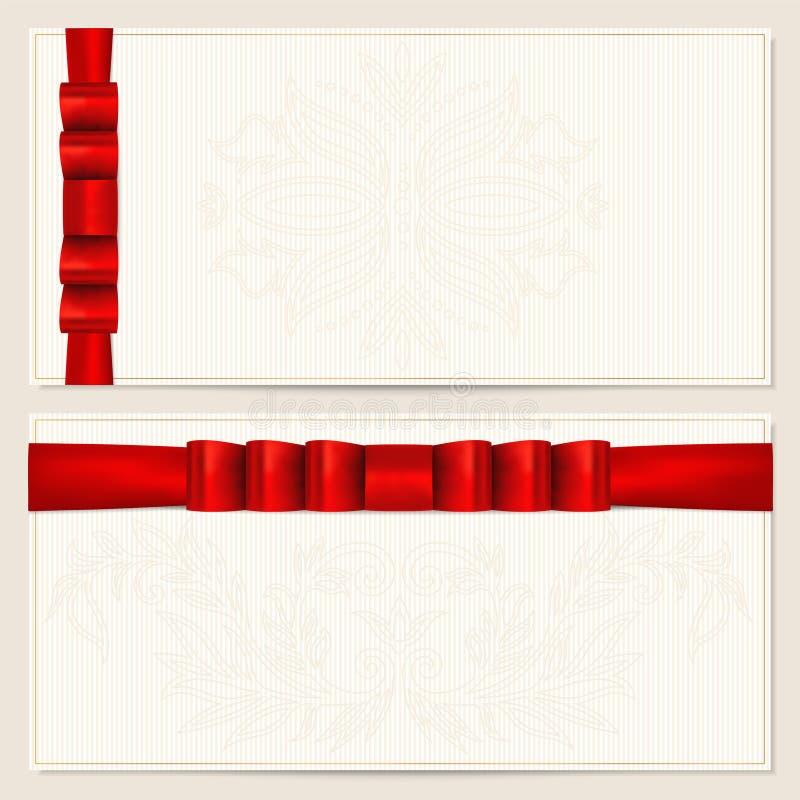 De Bon van de gift/couponmalplaatje. Boog (linten) stock illustratie