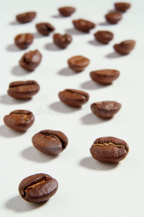 De bonen van de koffie die op wit worden geïsoleerdn royalty-vrije stock fotografie