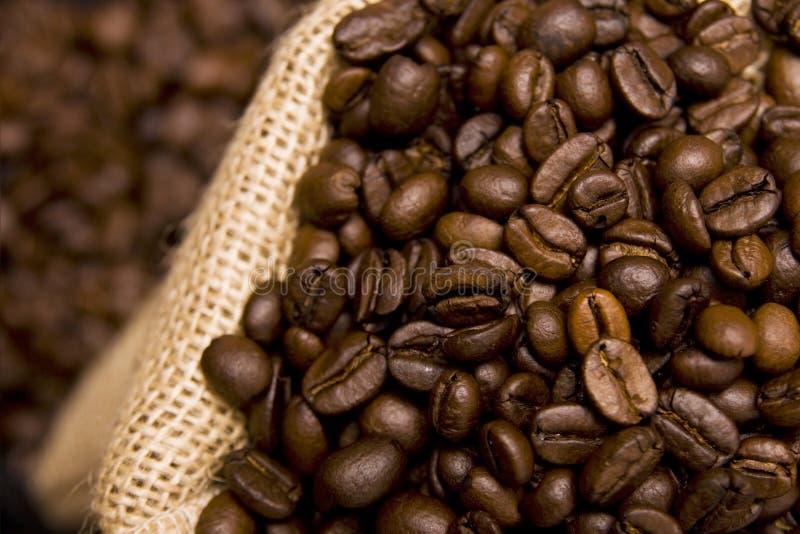 De bonen van de koffie in een zak stock afbeeldingen