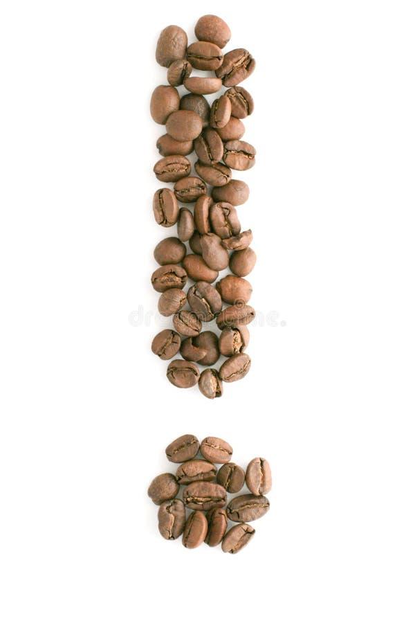 De bonen van de koffie, uitroepteken royalty-vrije stock foto's