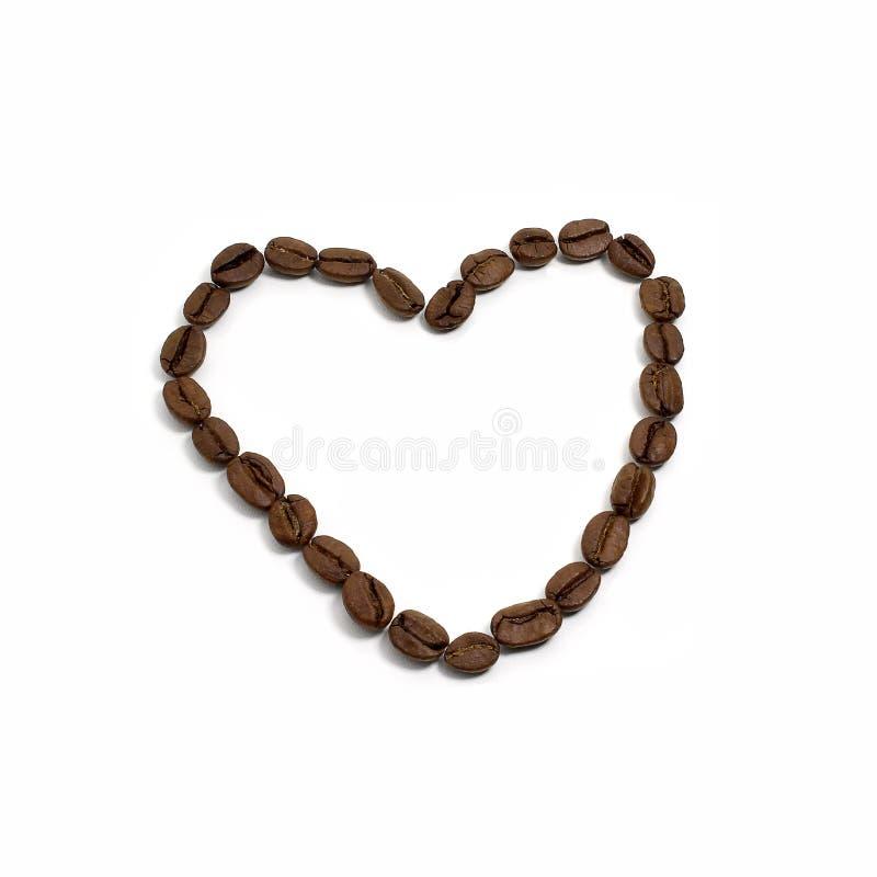 De bonen van de koffie in vorm van hart royalty-vrije stock fotografie