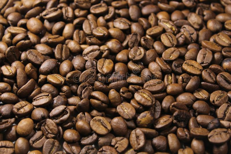 De bonenachtergrond van de koffie Sluit omhoog stock foto's