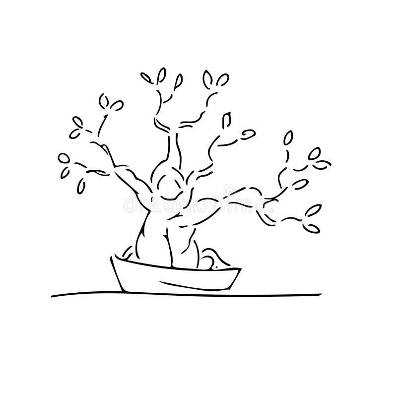 De bonsai stock illustratie