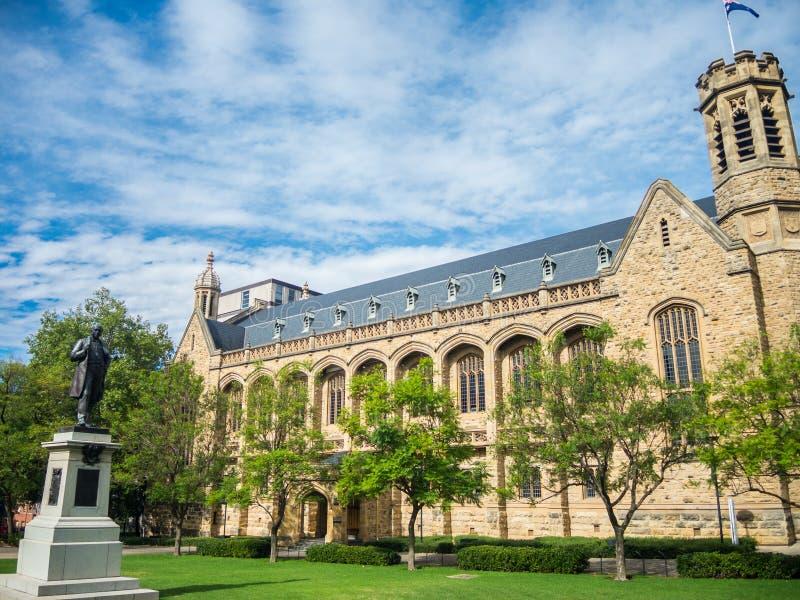 De Bonython-Zaal is de grote die zaal ` van ` van de Universiteit van Adelaide, op de universitaire gronden wordt gevestigd stock afbeeldingen