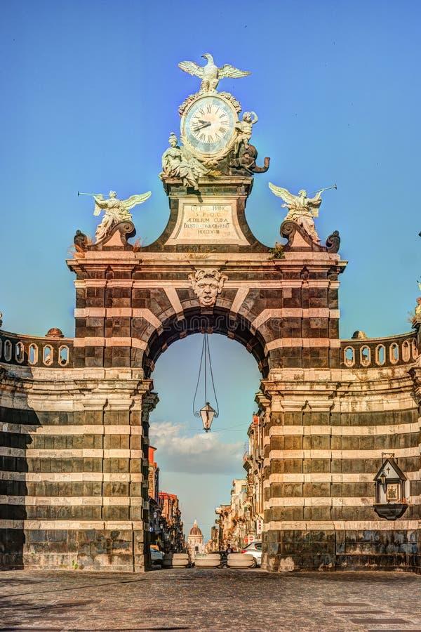 De boog Giuseppe Garibaldi, Catanië, Sicilië royalty-vrije stock afbeeldingen