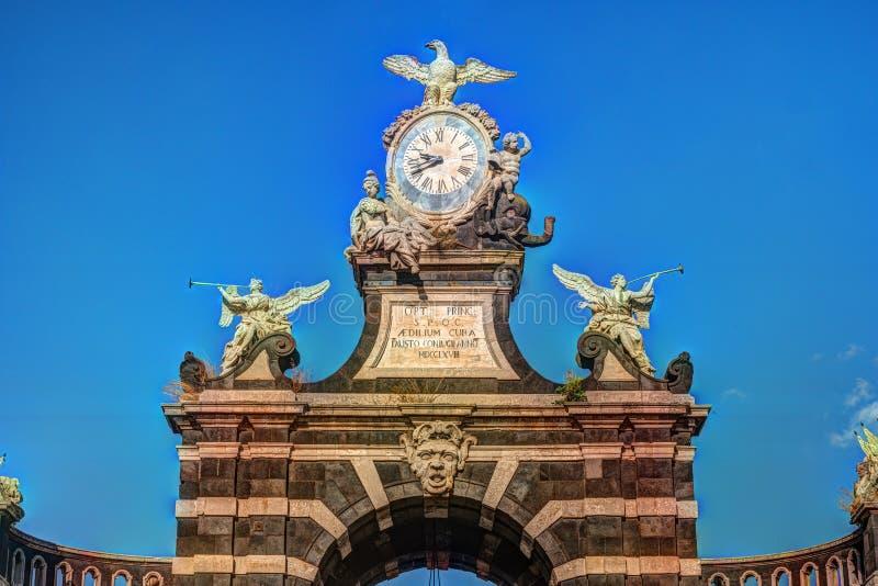 De boog Giuseppe Garibaldi, Catanië, Sicilië royalty-vrije stock foto