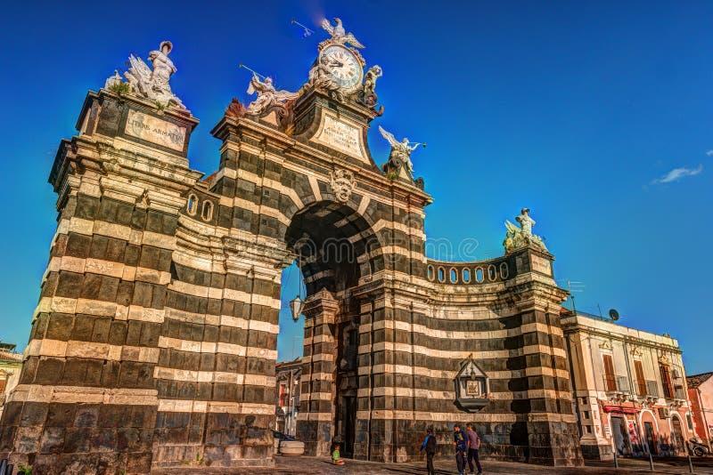 De boog Giuseppe Garibaldi, Catanië, Sicilië stock fotografie