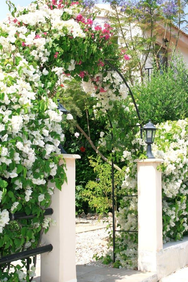 De boog van bloemen bij het huis royalty-vrije stock afbeelding