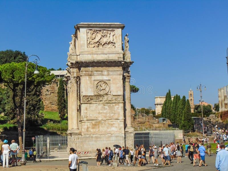 De Boog van Constantine in Rome, Italië stock foto